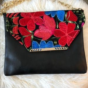 Floral black purse